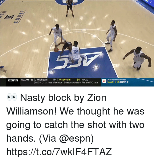 "me.me: 12  Michigan loss 54ason cons on wor 64 n PINAL d T  G20isht 9 ali Epǐ2  NCAAM T25  2019 Australian Open  Tonight 9 ET ESFT2  Ear""  MICH  1st loss of season Season worsts in Pts and TO rate  rate 👀 Nasty block by Zion Williamson!  We thought he was going to catch the shot with two hands.   (Via @espn) https://t.co/7wkIF4FTAZ"