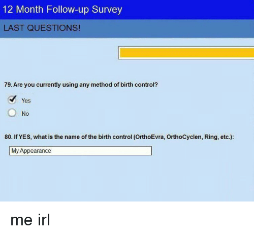 ups control and what is 12 month follow up survey last questions