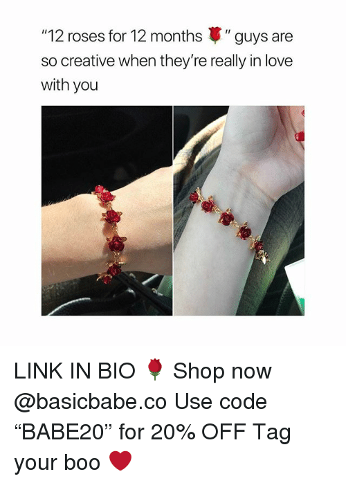 """Boo, Love, and Link: """"12 roses for 12 months """" guys are  so creative when they're really in love  with you LINK IN BIO 🌹 Shop now @basicbabe.co Use code """"BABE20"""" for 20% OFF Tag your boo ❤️"""