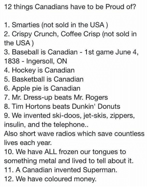 Apple, Baseball, and Basketball: 12 things Canadians have to be Proud of?  1. Smarties (not sold in the USA)  2. Crispy Crunch, Coffee Crisp (not sold in  the USA)  3. Baseball is Canadian 1st game June 4,  1838 Ingersoll, ON  4. Hockey is Canadian  5. Basketball is Canadian  6. Apple pie is Canadian  7. Mr Dress-up beats Mr. Rogers  8. Tim Hortons beats Dunkin' Donuts  9. We invented ski-doos, jet-skis, zippers,  insulin, and the telephone..  Also short wave radios which save countless  lives each year.  10. We have ALL frozen our tongues to  something metal and lived to tell about it.  11. A Canadian invented Superman.  12. We have coloured money.