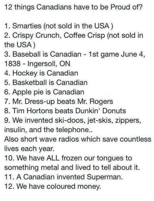 Apple, Baseball, and Frozen: 12 things Canadians have to be Proud of?  1. Smarties (not sold in the USA)  2. Crispy Crunch, Coffee Crisp (not sold in  the USA)  3. Baseball is Canadian 1st game June 4,  1838 Ingersoll, ON  4. Hockey is Canadian  5. Basketball is Canadian  6. Apple pie is Canadian  7. Mr. Dress-up beats Mr. Rogers  8. Tim Hortons beats Dunkin' Donuts  9. We invented ski-doos, jet-skis, zippers,  insulin, and the telephone.  Also short wave radios which save countless  lives each year.  10. We have ALL frozen our tongues to  something metal and lived to tell about it.  11. A Canadian invented Superman.  12. We have coloured money.