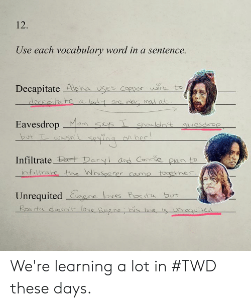 Dank, Word, and Mom: 12.  Use each vocabulary word in a sentence.  Decapitate Apna uses Coecer wire to  Eavesdrop Mom sets  _Mon Ses  Utwasn't sevina si her  Infiltrate Pat Deryl asd Coe pan  Unrequited eoves est but  rtc We're learning a lot in #TWD these days.