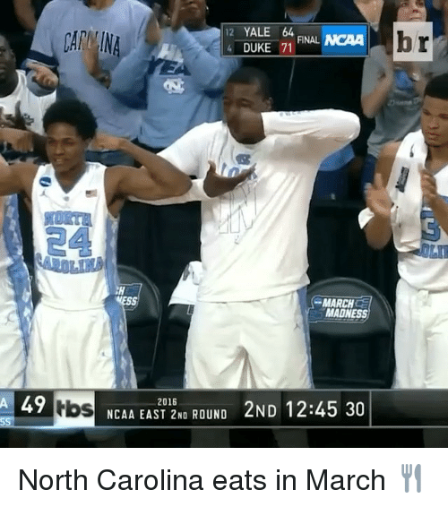 Finals, March Madness, and Sports: 12 YALE 64  4 FINAL  DUKE 71  MARCH  MADNESS  A 49  NCAA EAST 2NO ROUND 2ND 12:45 30  2016  Hos  br North Carolina eats in March 🍴