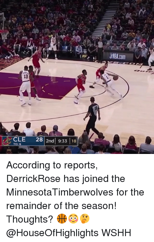Memes, Wshh, and According: 13  28 2nd 9:33 18  TO: 6 According to reports, DerrickRose has joined the MinnesotaTimberwolves for the remainder of the season! Thoughts? 🏀😳🤔 @HouseOfHighlights WSHH