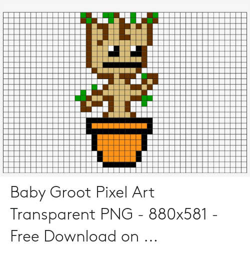 13 Baby Groot Pixel Art Transparent Png 880x581 Free