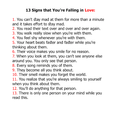 Signs you re in love
