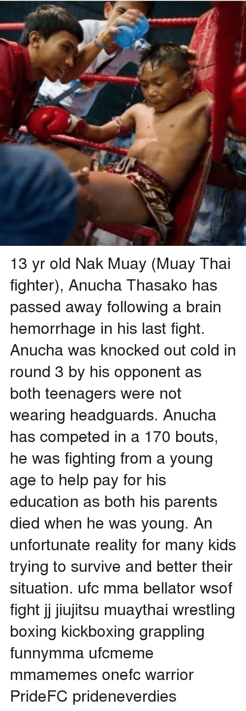 Boxing, Memes, and Parents: 13 yr old Nak Muay (Muay Thai fighter), Anucha Thasako has passed away following a brain hemorrhage in his last fight. Anucha was knocked out cold in round 3 by his opponent as both teenagers were not wearing headguards. Anucha has competed in a 170 bouts, he was fighting from a young age to help pay for his education as both his parents died when he was young. An unfortunate reality for many kids trying to survive and better their situation. ufc mma bellator wsof fight jj jiujitsu muaythai wrestling boxing kickboxing grappling funnymma ufcmeme mmamemes onefc warrior PrideFC prideneverdies