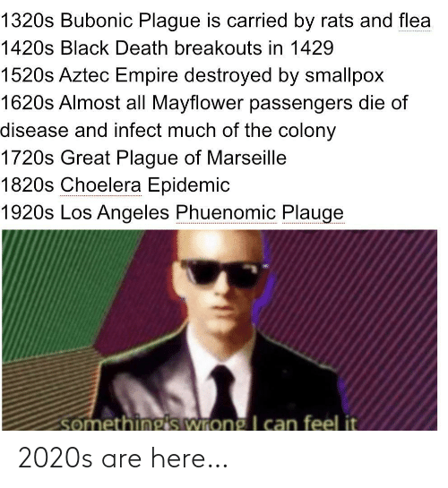 Empire, Black, and Death: 1320s Bubonic Plague is carried by rats and flea  1420s Black Death breakouts in 1429  1520s Aztec Empire destroyed by smallpox  1620s Almost all Mayflower passengers die of  disease and infect much of the colony  1720s Great Plague of Marseille  1820s Choelera Epidemic  1920s Los Angeles Phuenomic Plauge  somethings wrong I can feel it 2020s are here…