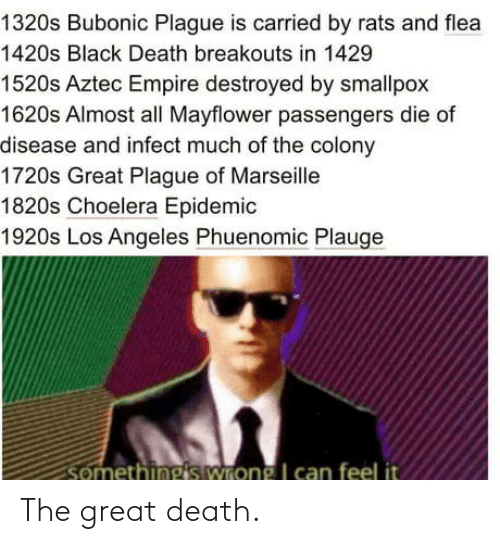 Empire, Black, and Death: 1320s Bubonic Plague is carried by rats and flea  1420s Black Death breakouts in 1429  1520s Aztec Empire destroyed by smallpox  1620s Almost all Mayflower passengers die of  disease and infect much of the colony  1720s Great Plague of Marseille  1820s Choelera Epidemic  1920s Los Angeles Phuenomic Plauge  somethings wrong I can feel it The great death.