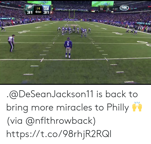 Memes, Miracles, and Back: 14  TB 20 F-OT (EOX .@DeSeanJackson11 is back to bring more miracles to Philly 🙌  (via @nflthrowback) https://t.co/98rhjR2RQl
