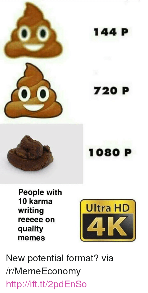 "Memes, Http, and Karma: 144 P  720 P  1080 P  People with  10 karma  writing  Ultra HD  4K  quality  memes <p>New potential format? via /r/MemeEconomy <a href=""http://ift.tt/2pdEnSo"">http://ift.tt/2pdEnSo</a></p>"