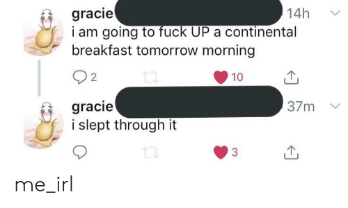Breakfast, Fuck, and Tomorrow: 14h  gracie  i am going to fuck UP a continental  breakfast tomorrow morning  2  10  山  gracie  37m  slept through it  3 me_irl