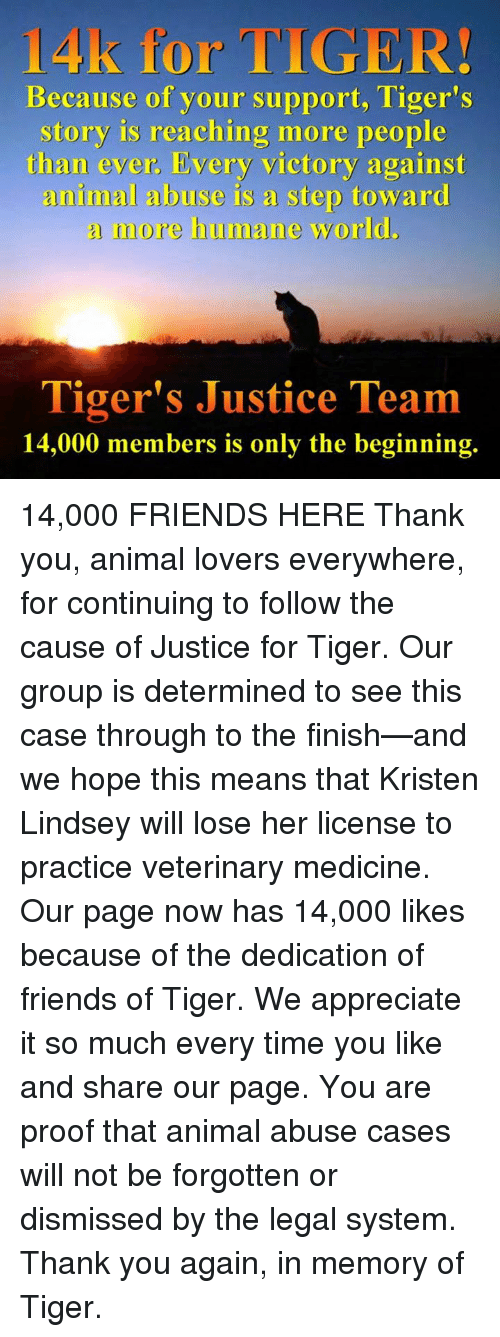 Memes, Appreciate, and Justice: 14k for TIGER!  Because of your support, Tiger's  story is reaching more people  than ever. Every victory against  animal abuse is a step toward  a more humane world.  Tiger's Justice Team  14,000 members is only the beginning. 14,000 FRIENDS HERE        Thank you, animal lovers everywhere, for continuing to follow the cause of Justice for Tiger. Our group is determined to see this case through to the finish—and we hope this means that Kristen Lindsey will lose her license to practice veterinary medicine.    Our page now has 14,000 likes because of the dedication of friends of Tiger. We appreciate it so much every time you like and share our page. You are proof that animal abuse cases will not be forgotten or dismissed by the legal system.    Thank you again, in memory of Tiger.