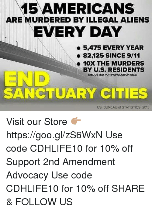 9/11, Memes, and Aliens: 15 AMERICANS  ARE MURDERED BY ILLEGAL ALIENS  EVERYDAY  5,475 EVERY YEAR  82125 SINCE 9/11  10X THE MURDERS  BY U.S. RESIDENTS  ADJUSTED FOR POPULATION SIZE)  SANCTUARY CITIES  US. BUREAU of STATISTICS 2015 Visit our Store 👉🏽 https://goo.gl/zS6WxN Use code CDHLIFE10 for 10% off Support 2nd Amendment Advocacy Use code CDHLIFE10 for 10% off SHARE & FOLLOW US