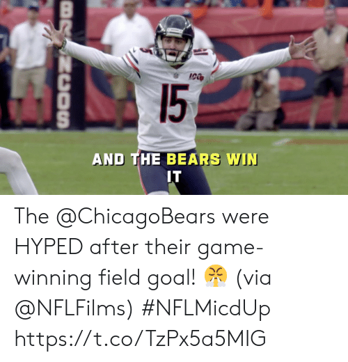 Memes, Bears, and Game: 15  AND THE BEARS WIN  IT  BRSNCOSn The @ChicagoBears were HYPED after their game-winning field goal! 😤  (via @NFLFilms) #NFLMicdUp https://t.co/TzPx5a5MIG
