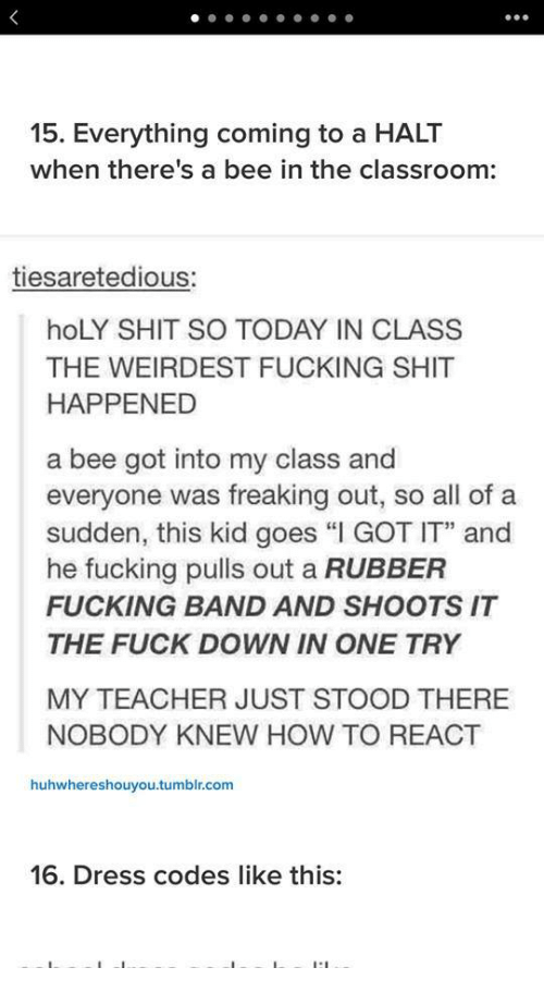 "Fucking, Shit, and Teacher: 15. Everything coming to a HALT  when there's a bee in the classroom:  tiesaretedious:  hoLY SHIT SO TODAY IN CLASS  THE WEIRDEST FUCKING SHIT  HAPPENED  a bee got into my class and  everyone was freaking out, so all of a  sudden, this kid goes ""I GOT IT"" and  he fucking pulls out a RUBBER  FUCKING BAND AND SHOOTS IT  THE FUCK DOWN IN ONE TRY  MY TEACHER JUST STOOD THERE  NOBODY KNEW HOW TO REACT  huhwhereshouyou.tumblr.com  16. Dress codes like this:"