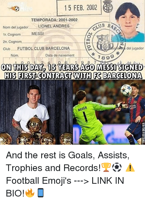 Barcelona, Club, and Goals: 15 FEB, 2002  TEMPORADA: 2001-2002  UBBA  Nom del jugador  LIONEL ANDRES  norm  MESSI  1r. 2n. Cognom  Club  FUTBOL CLUB BARCELONA  del jugador  Data de naixement  Num.  7899  ON THIS DAY is YEARS AGO MESSI SIGNED  HIS FRST CONTRACT WITH FG BARCELONA  NEUER And the rest is Goals, Assists, Trophies and Records!🏆⚽️ ⚠️Football Emoji's ---> LINK IN BIO!🔥📱