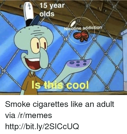 Memes, Http, and Via: 15 year  olds  cotine addiction  Is  Coo Smoke cigarettes like an adult via /r/memes http://bit.ly/2SICcUQ