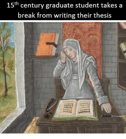 Break, Classical Art, and Student: 15th century graduate student takes a  break from writing their thesis