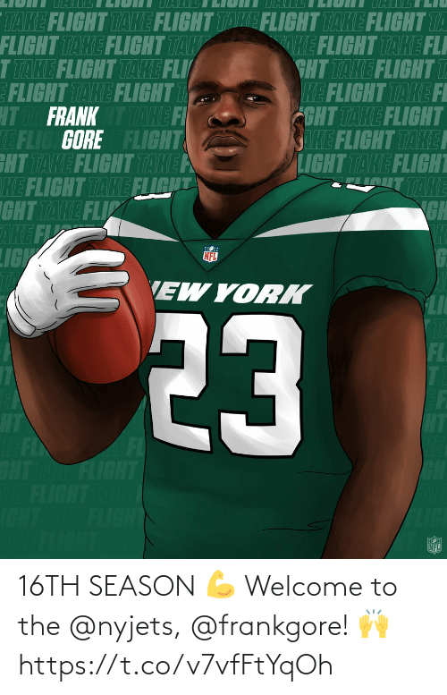 Memes, 🤖, and Nyjets: 16TH SEASON 💪  Welcome to the @nyjets, @frankgore! 🙌 https://t.co/v7vfFtYqOh