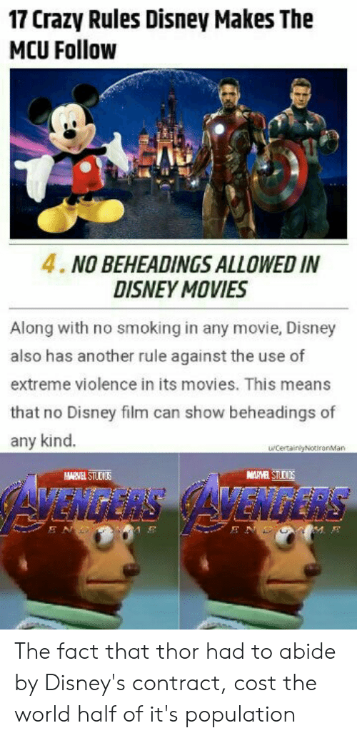 17 Crazy Rules Disney Makes the MCU Follow 4 NO BEHEADINGS ALLOWED