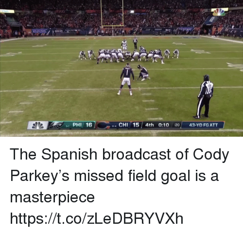 me.me: 17  PHI 16  4 CHI 15 4th 0:10 :20 43-YD FG ATT  9-7 The Spanish broadcast of Cody Parkey's missed field goal is a masterpiece https://t.co/zLeDBRYVXh