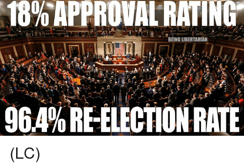 Memes, Libertarian, and 🤖: 18%APPROVAL RATING.  BEING LIBERTARIAN  964% RE-ELECTION RATE (LC)