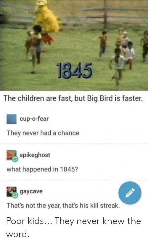 1845 the Children Are Fast but Big Bird Is Faster Cup-O-Fear