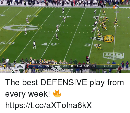 Memes, Best, and 🤖: &19  3  CHI 10  GB 0 2nd 0:50 :09  3rd & 19 The best DEFENSIVE play from every week! 🔥 https://t.co/aXTolna6kX