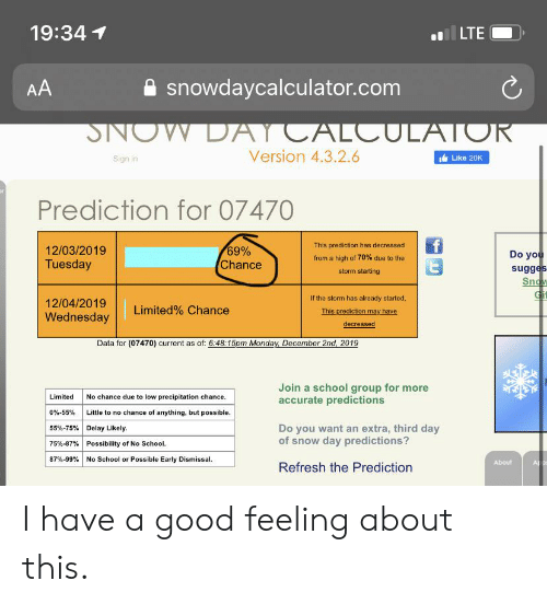School, Good, and Limited: 19:34  LTE  snowdaycalculator.com  AA  DAYCALCULATOR  SNOW  Version 4.3.2.6  Like 20K  Sign in  Prediction for 07470  This prediction has decreased  69%  Chance  12/03/2019  Do you  sugges  Snow  Gi  from a high of 70% due to the  Tuesday  storm starting  If the storm has already started,  12/04/2019  Limited% Chance  This prediction may have  Wednesday  decreased  Data for (07470) current as of: 6:48:15pm Monday December 2nd, 2019  Join a school group for more  accurate predictions  Limited  No chance due to low precipitation chance.  0%-55%  Little to no chance of anything, but possible.  55%-75% | Delay Likely  Do you want an extra, third day  of snow day predictions?  Possibility of No School  75%-87%  87% -99 % | No School or Possible Early Dismissal.  About  AL  Refresh the Prediction I have a good feeling about this.