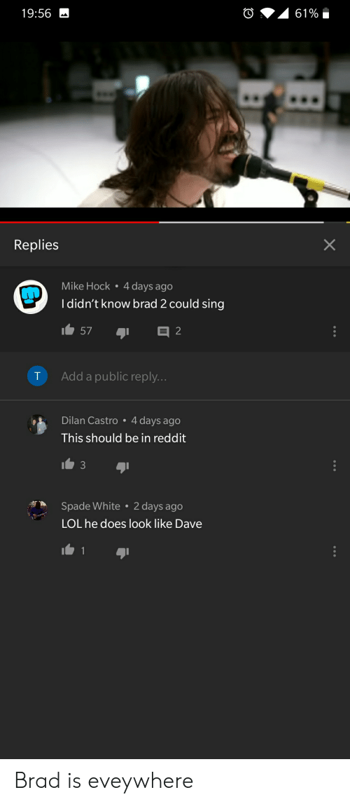 Lol, Reddit, and White: 19:56  Replies  Mike Hock 4 days ago  Ididn't know brad 2 could sing  157  T Add a public reply.  Dilan Castro 4 days ago  This should be in reddit  3  Spade White 2 days ago  LOL he does look like Dave Brad is eveywhere