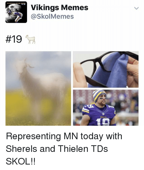 Meme, Memes, and Today:  #19  Vikings Memes  @SkolMemes Representing MN today with Sherels and Thielen TDs   SKOL!!