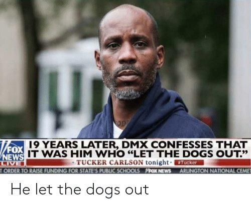"""Dmx, Dogs, and News: 19 YEARS LATER, DMX CONFESSES THAT  FOX  IT WAS HIM WHO """"LET THE DOGS OUT?'  13だ  TUCKER CARLSON tonight. ERMAN  ORDER TO RAISE FUNDING FOR STATE'S PUBLIC SCHOOLS FOX NEWS ARLINGTON NATIONAL CEME He let the dogs out"""