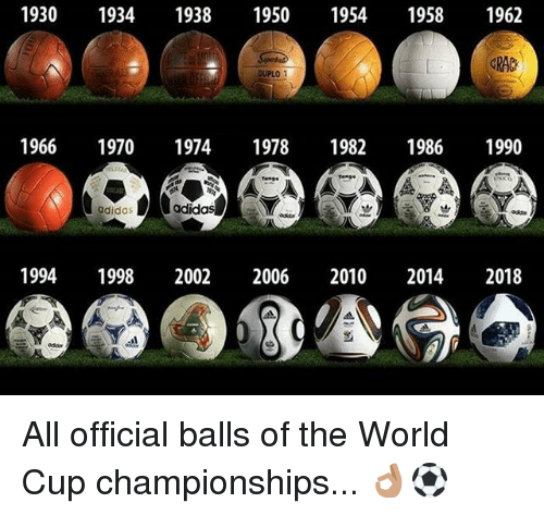 Adidas, Memes, and World Cup: 1930 1934 1938 1950 19541958 1962  GRAC  OUPLO  1966 1970 1974 1978 1982 1986 1990  adidas  adidas  19941998 2002 2006 2010 2014 2018  odds All official balls of the World Cup championships... 👌🏽⚽️