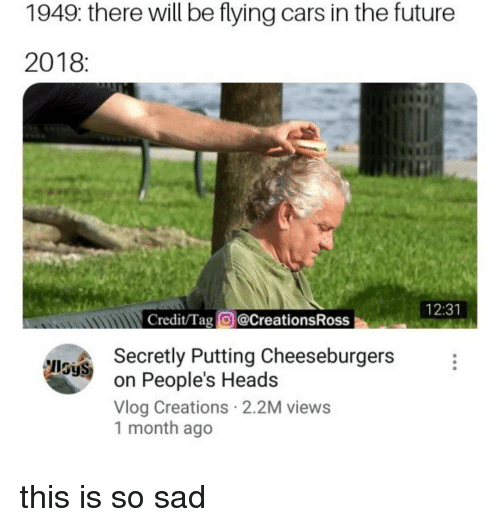 Cars, Future, and Sad: 1949: there will be flying cars in the future  2018:  tin  12:31  Credit/Tag @CreationsRoss  Secretly Putting Cheeseburgers  on People's Heads  Vlog Creations 2.2M views  1 month ago  IlSyS this is so sad