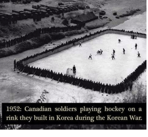 Hockey Memes And Soldiers 1952 Canadian Playing On A Rink