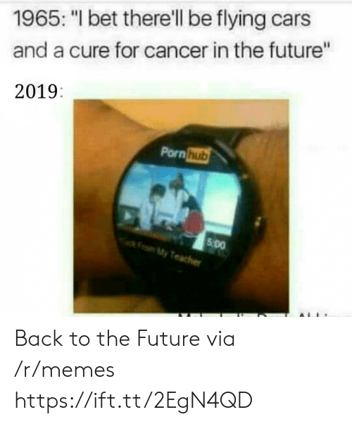 """Back to the Future, Cars, and Future: 1965: """"I bet there'll be flying cars  and a cure for cancer in the future""""  2019:  Pornhub  5 Do  My Back to the Future via /r/memes https://ift.tt/2EgN4QD"""