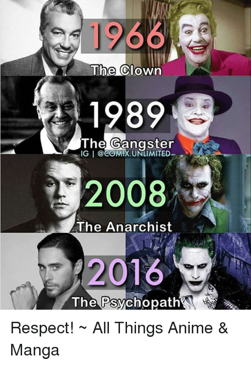 1966 1989 2008 2016 The Gangster Ig I The Anarchist The Psychopath