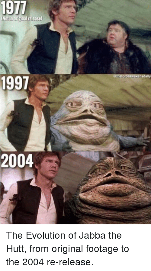 1977 Release 1997 2004 The Evolution Of Jabba The Hutt From Original