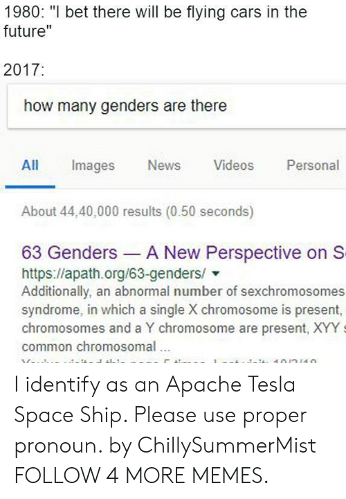 "Cars, Dank, and Future: 1980: ""I bet there will be flying cars in the  future""  2017:  how many genders are there  Personal  All  Images  News  Videos  About 44,40,000 results (0.50 seconds)  63 Genders A New Perspective on S  https://apath.org/63-genders/  Additionally, an abnormal number of sexchromosomes  syndrome, in which a single X chromosome is present,  chromosomes and a Y chromosome are present, XYY  common chromosomal  10/n110 I identify as an Apache Tesla Space Ship. Please use proper pronoun. by ChillySummerMist FOLLOW 4 MORE MEMES."