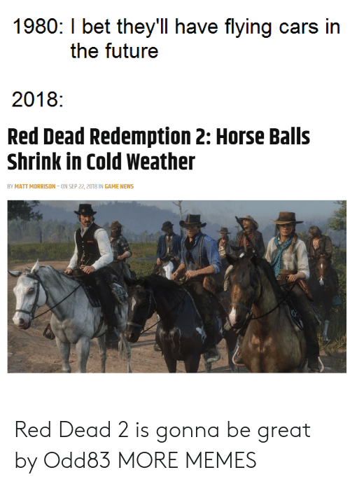 Cars, Dank, and I Bet: 1980: I bet they'll have flying cars in  the futuree  2018:  Red Dead Redemption 2: Horse Balls  Shrink in Cold Weather  BY MATT MORRISON-ON SEP 22, 2018 IN GAME NEWS Red Dead 2 is gonna be great by Odd83 MORE MEMES
