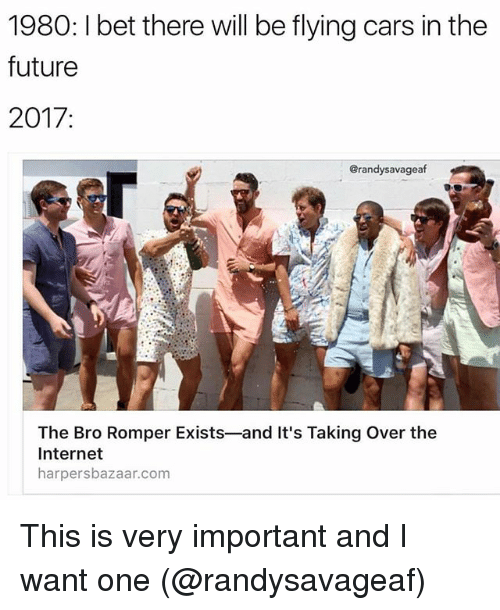 Cars, Funny, and Future: 1980: l bet there will be flying cars in the  future  2017  Grandysavageaf  The Bro Romper Exists-and It's Taking over the  Internet  harpersbazaar.com This is very important and I want one (@randysavageaf)
