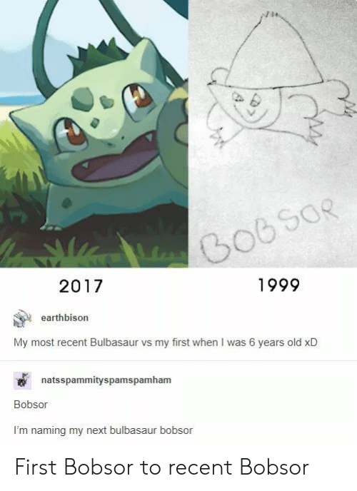 Bulbasaur, Old, and Next: 1999  2017  earthbison  My most recent Bulbasaur vs my first when I was 6 years old xD  natsspammityspamspamham  Bobsor  I'm naming my next bulbasaur bobsor First Bobsor to recent Bobsor