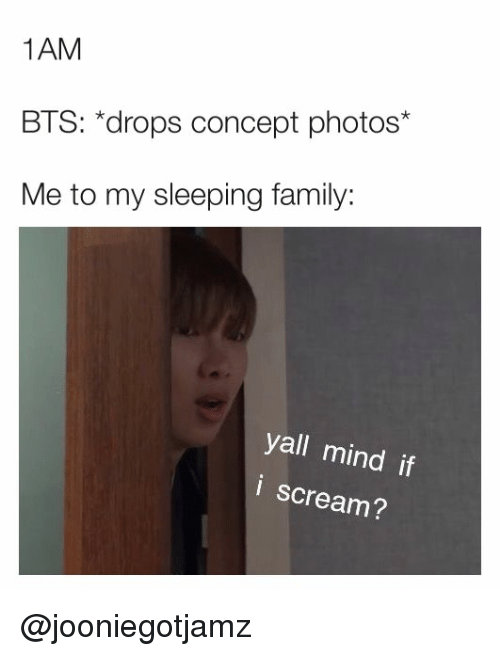 Family, Scream, and Sleeping: 1AM  BTS: *drops concept photos*  Me to my sleeping family:  yall mind if  i scream? @jooniegotjamz