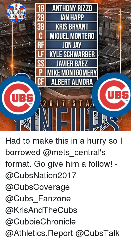 Jay, Memes, and Cubs: 1B ANTHONY RIZZO  HE  RIGL  REPORT  2B  IAN HAPP  3B KRIS BRYANT  C MIGUEL MONTERO  RF  JON JAY  LF KYLE SCHWARBER  SS JAVIER BAEZ  P MIKE MONTGOMERY  CF ALBERT ALMORA  UBS  2 i 1 CIS T A  TM  UBS Had to make this in a hurry so I borrowed @mets_central's format. Go give him a follow! - @CubsNation2017 @CubsCoverage @Cubs_Fanzone @KrisAndTheCubs @CubbieChronicle @Athletics.Report @CubsTalk