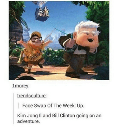Bill Clinton, Kim Jong-Il, and Face Swap: 1morev:  trendsculture:  Face Swap Of The Week: Up.  Kim Jong Il and Bill Clinton going on an  adventure.