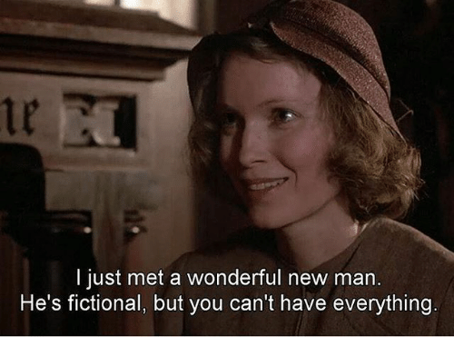 Fictional, Man, and New: 1p  I just met a wonderful new man.  He's fictional, but you can't have everything.