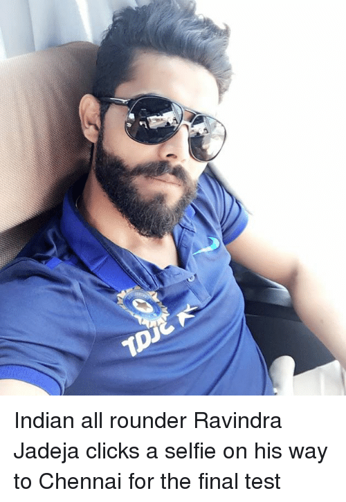 1p Indian All Rounder Ravindra Jadeja Clicks A Selfie On His Way To