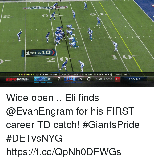 Eli Manning, Memes, and Drive: 1ST &10  THIS DRIVE 10 ELI MANNING COMP/ATT: 5/5 (5 DIFFERENT RECEIVERS] YARDS: 46  MNF  、 : DET  7-  NYG O 2ND 15:00 15  1st & 10 Wide open...  Eli finds @EvanEngram for his FIRST career TD catch! #GiantsPride #DETvsNYG https://t.co/QpNh0DFWGs