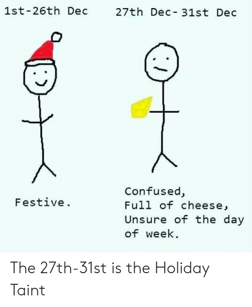 Confused, The Holiday, and Cheese: 1st-26th Dec 27th Dec 31st Dec  Confused,  Full of cheese,  Unsure of the day  of week  Festive. The 27th-31st is the Holiday Taint